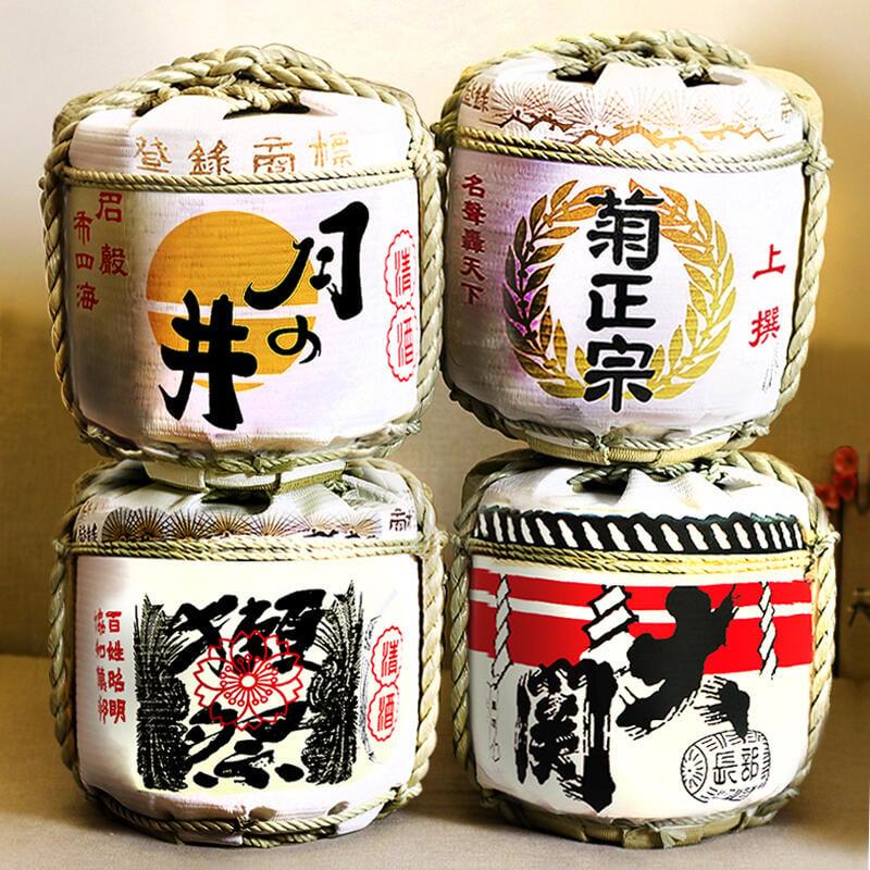 日本壽司料理店擺設品招財貓傳統清酒酒蹲日式料擺件裝飾酒樽酒桶