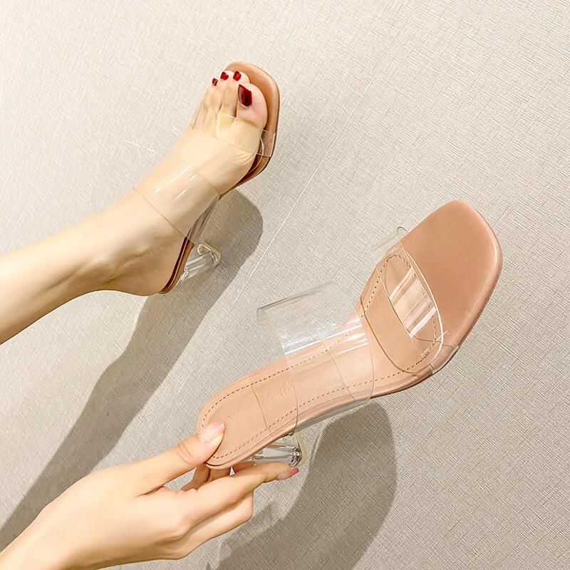 【推薦】2021新款透明高跟一字扣帶涼鞋時尚仙女風水鉆涼拖鞋水晶粗跟女鞋