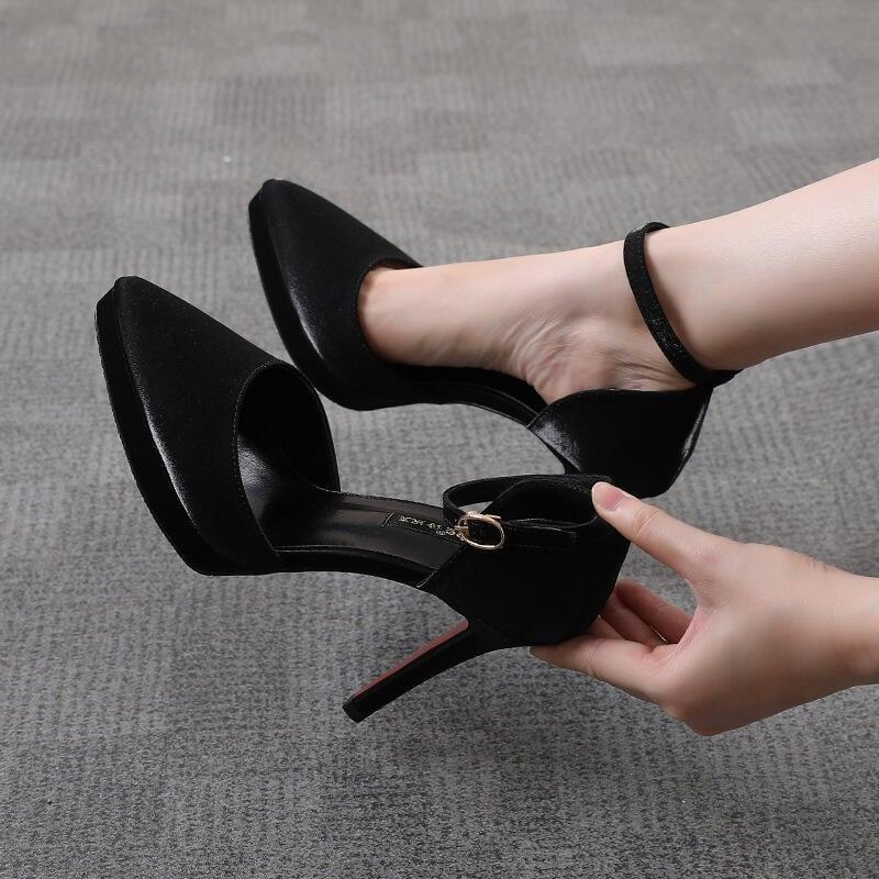 【推薦】10CM包頭涼鞋女2021夏季新款性感中空細跟高跟尖頭單鞋小碼防水臺