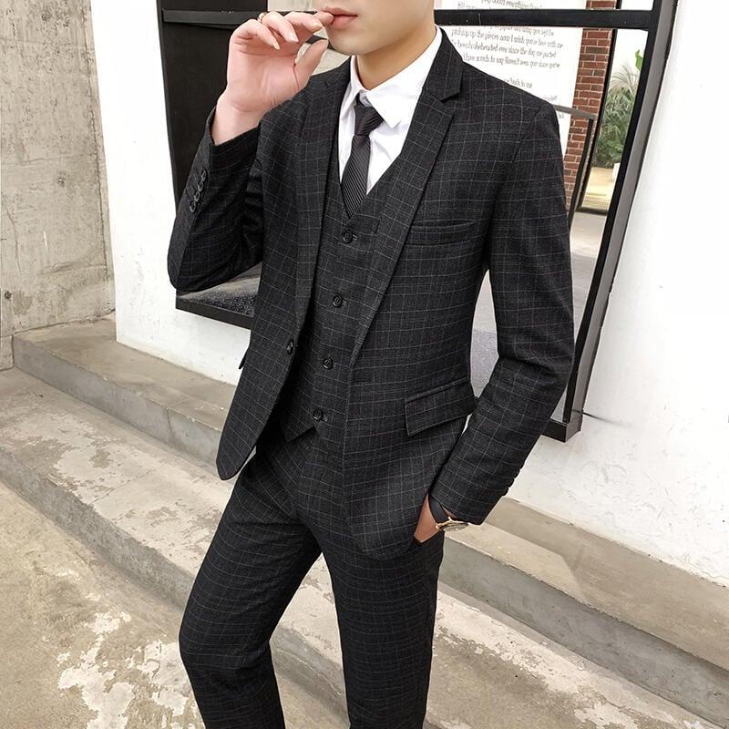 男士西服套裝商務休閑西裝男結婚新郎伴郎團禮服修身職業正裝外套