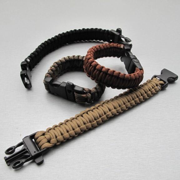 傘繩編織戶外求生手鏈帶口哨插扣可拆卸手鏈傘繩手環野外應急手繩
