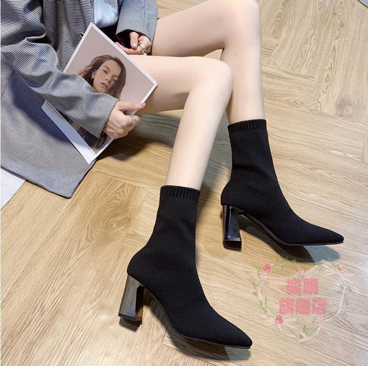 可開發票 馬丁靴 針織彈力襪靴女短筒短靴新款網紅尖頭粗跟高跟瘦瘦靴馬丁靴潮-樂購旗艦店【遇見】