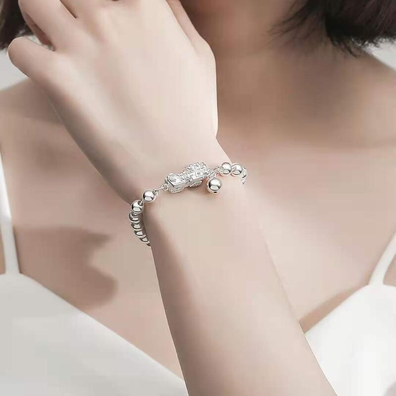S990純銀足銀光面珠子金錢貔貅轉運珠手k串招財進寶女士情侶款手k鏈