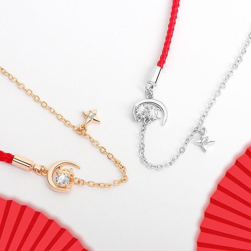 2021本命年紅繩編織手k鏈生肖牛手k鏈女珠寶首飾生肖牛手k繩飾品