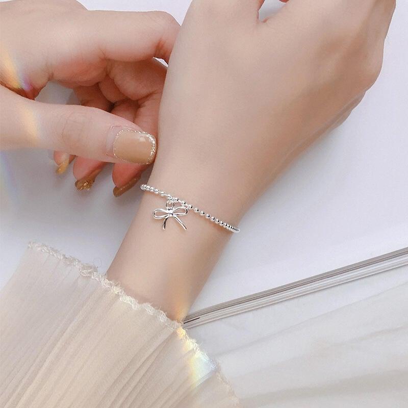925純銀蝴蝶結手k鏈 簡約珠子手k串時尚女士手k飾品