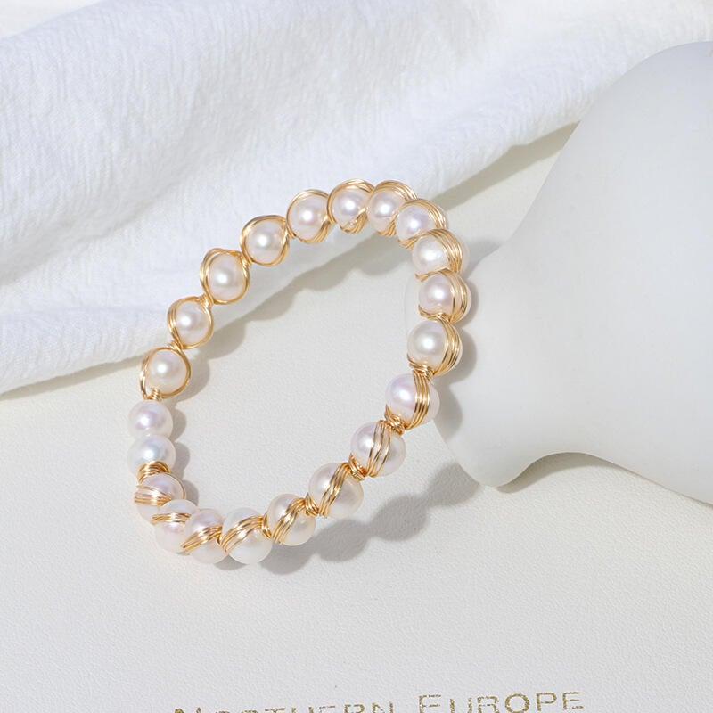 飾品 創意時尚淡水珍珠手k鐲 純手k工編織近圓微瑕手k飾手k串