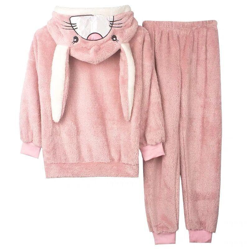 珊瑚絨睡衣女秋冬加厚加絨保暖法蘭絨冬季甜美可愛兔子家居服套裝