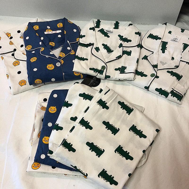 Kakao韓國金南俊同款趣味鱷魚同款睡衣可愛少女秋軟妹純棉家居服