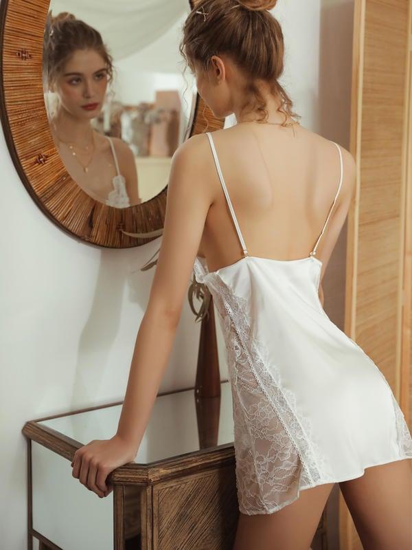水溶浮花性感睡衣女夏季誘惑冰絲吊帶睡裙薄款蕾絲短裙家居服