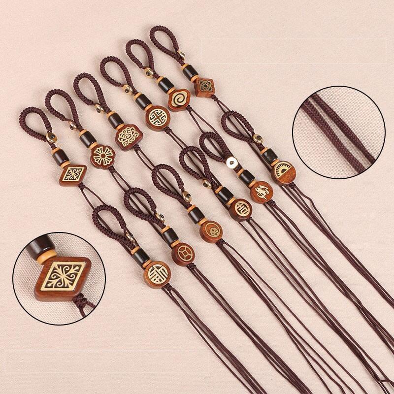 DIY手工編織半成品鑰匙扣掛繩配件花梨木金剛結平結帶扣包掛線圈