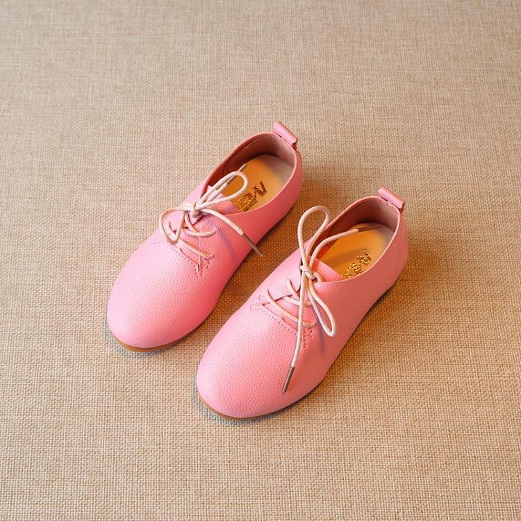 春季新款兒童皮鞋女童鞋休閒鞋男童潮英倫豆豆鞋軟底系帶防滑單鞋【潮咖地帶】