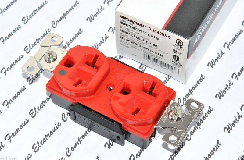 美國 COOPER AH8400RD 250V 20A 紅色 高級醫療級插座 NEMA 6-20 (DUPLEX型)