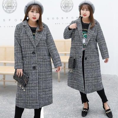 【免運喔】2018冬季新款加大加肥特大碼女裝胖妹妹180斤加厚格子毛呢大衣