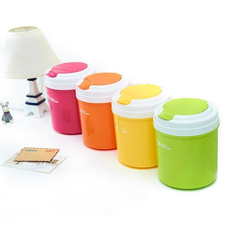 稻草屋 圓形掀蓋垃圾桶 糖果色桌面垃圾桶 小號收納桶 卓上雜物桶【潮咖地帶】