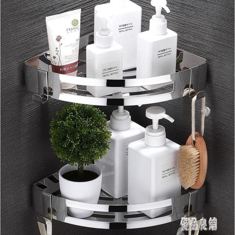 免打孔衛生間置物架壁掛式洗手間304不銹鋼墻上三角廁所收納浴室LXY3300