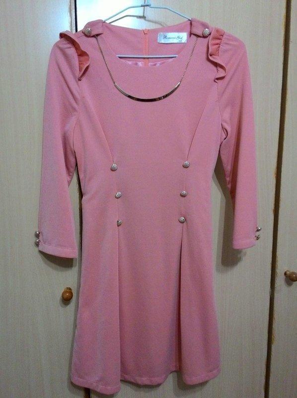 粉桔色氣質連身韓版洋裝(全新品) 質料好 買到賺到
