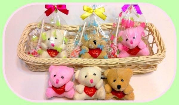 歡樂時光禮品~大抱心熊+棒棒糖&包裝~結婚禮小物~二次進場~送客禮~慶生日禮物~便宜贈品~畢業