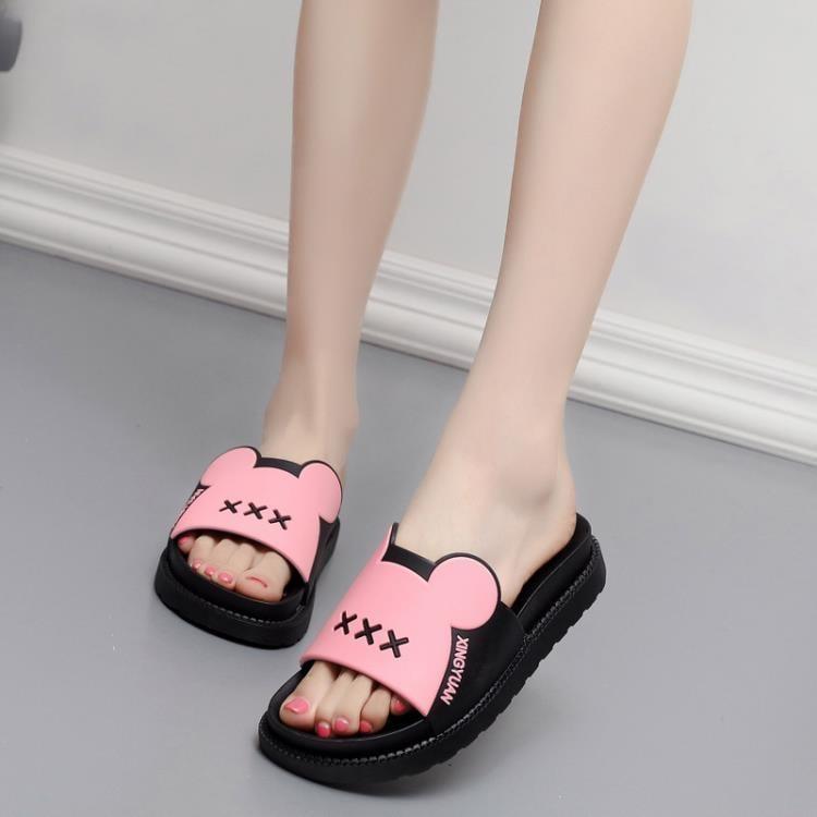 新款涼拖鞋女夏增高厚底可愛家居家室內平跟軟底防滑浴池拖鞋--脆殼蟹