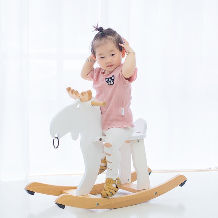 白色簡易木馬兒童搖搖馬實木嬰兒寶寶搖椅6-12個月木質玩具女孩【潮咖地帶】