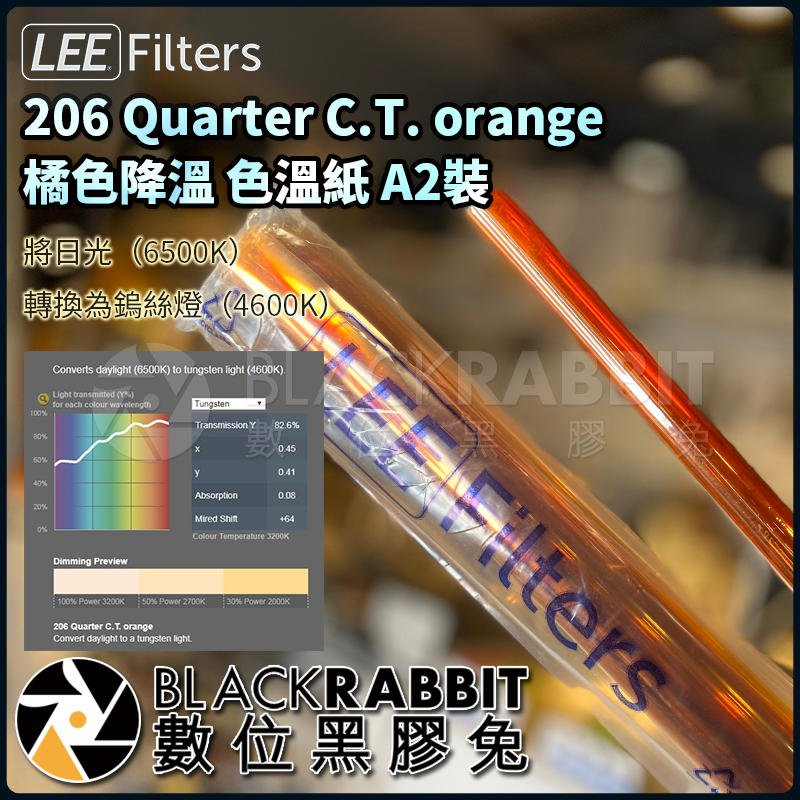 數位黑膠兔【 LEE Filters 206 Quarter C.T. orange 橘色降溫 色溫紙 A2裝 】 濾色