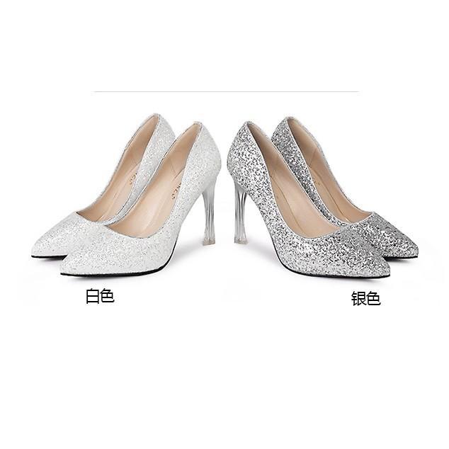2017年春秋款高跟鞋時尚女細跟尖頭鞋銀色亮片女鞋套腳淺口女單鞋
