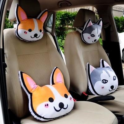 創意可愛韓國小狗汽車頭枕腰靠枕車用脖子護頸枕車載卡通座椅枕頭
