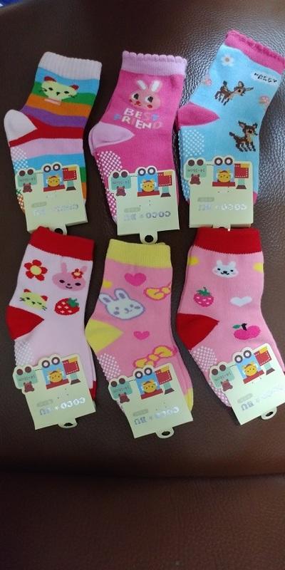 促銷【買1組6雙,送2雙】女童粉色系小兔防滑襪,93%高等棉、底部點膠防滑
