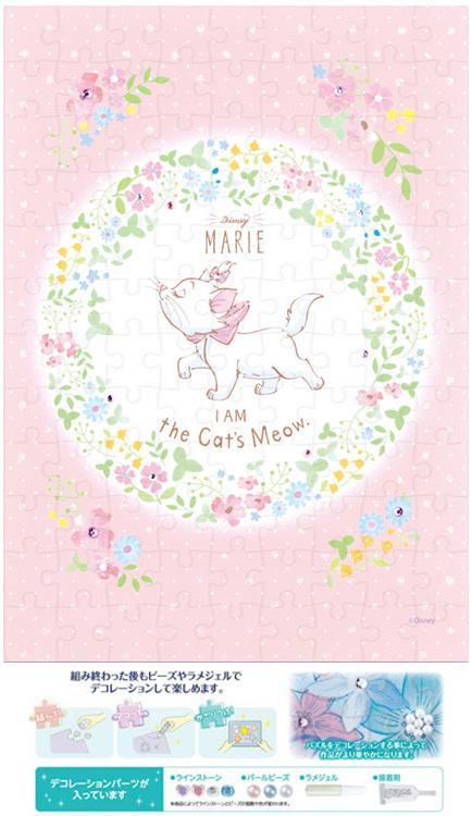 日本拼圖.迪士尼 MARIE 瑪莉貓 108片布面拼圖附珠飾,72-008