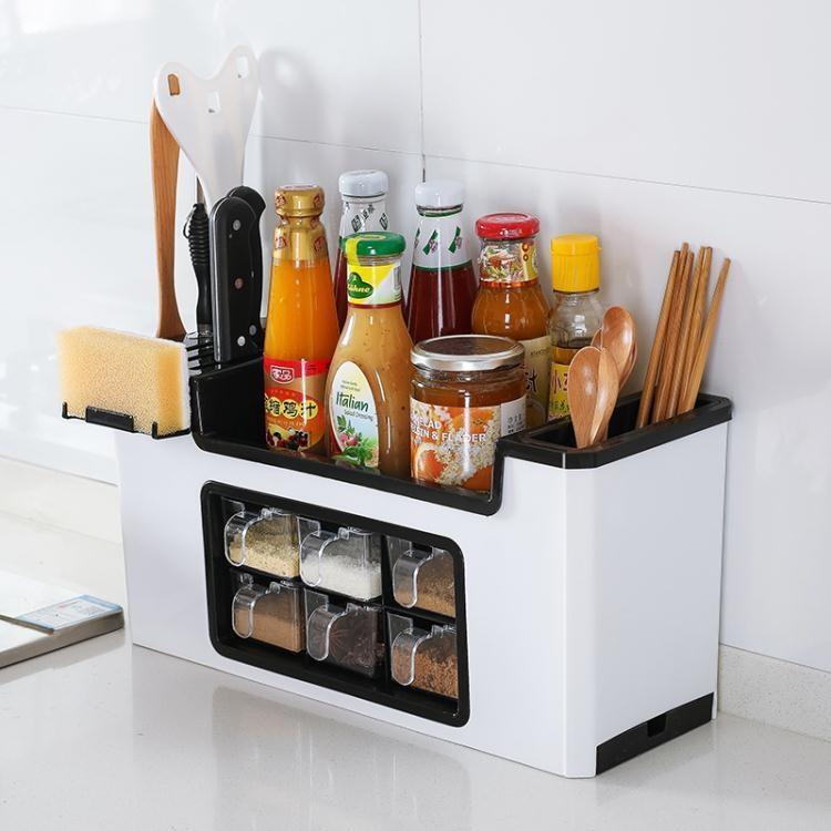多功能調料盒置物架調料瓶收納架調味罐收納盒調味品廚房用品套裝