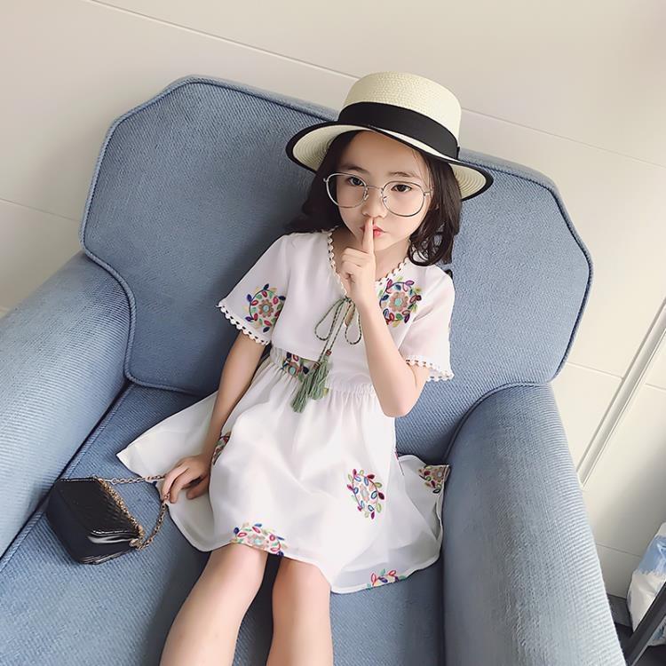 【可開發票】女童連身裙2019秋季新款短袖洋氣裙子韓版雪紡公主裙※優品百貨※