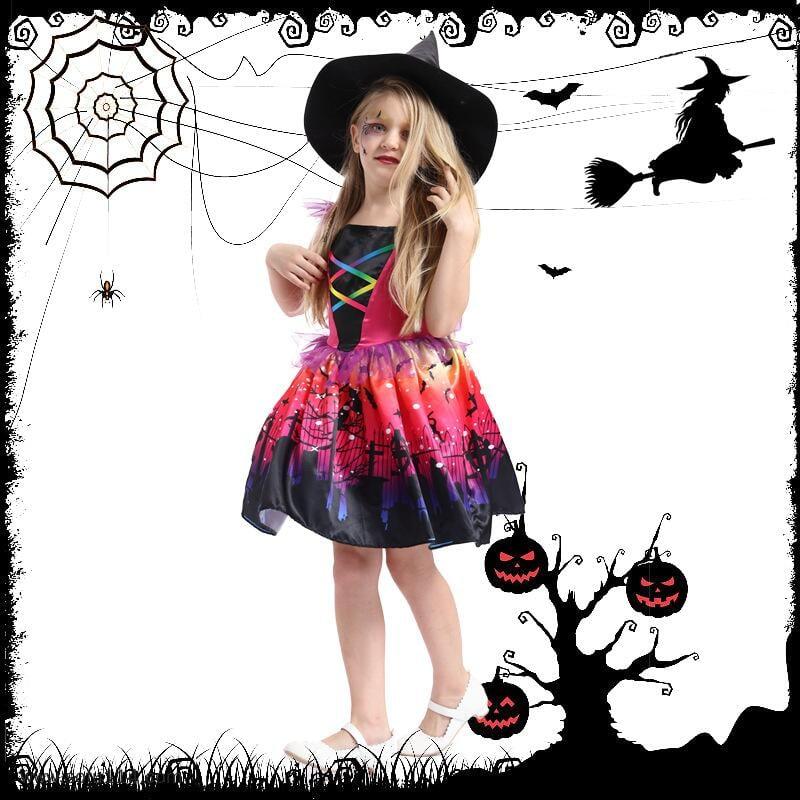 新款童裝 萬圣節狂歡彩色小魔女可愛女巫魔法連衣裙 舞臺表演服裝