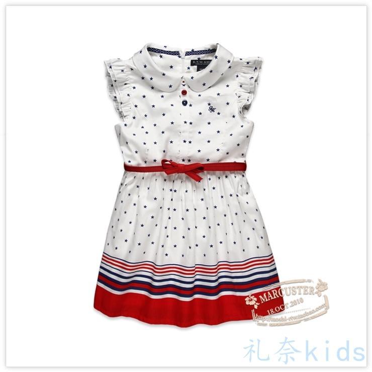 依戀童裝夏季新款女童純棉短袖連衣裙小熊 兒童公主裙子英倫