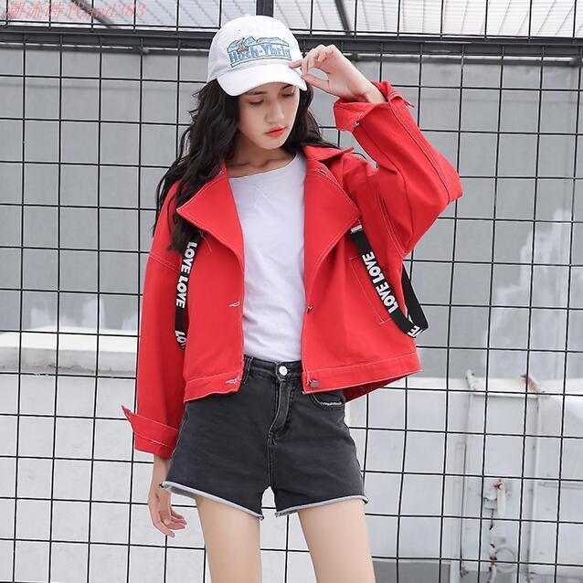 紅色寬松牛仔外套短款小外套女春秋韓版學生寬松bf字母織帶牛仔衣