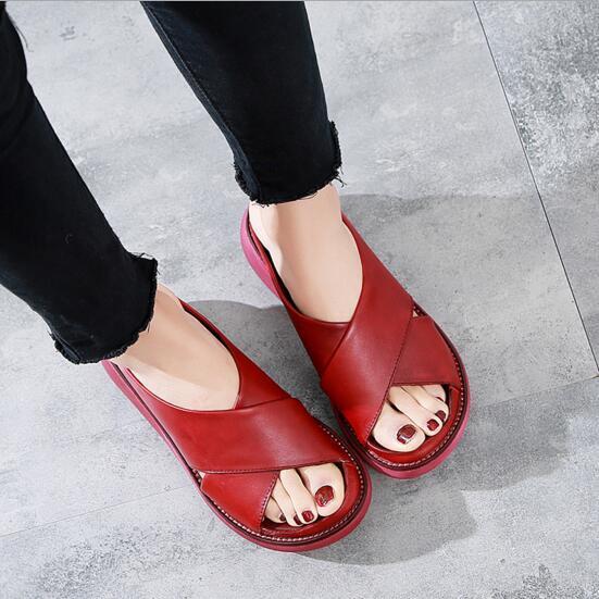 真皮拖鞋女外穿2020夏季新款時尚 復古單鞋 休閒厚底涼拖女純色 休閒耐磨增高女拖鞋16796