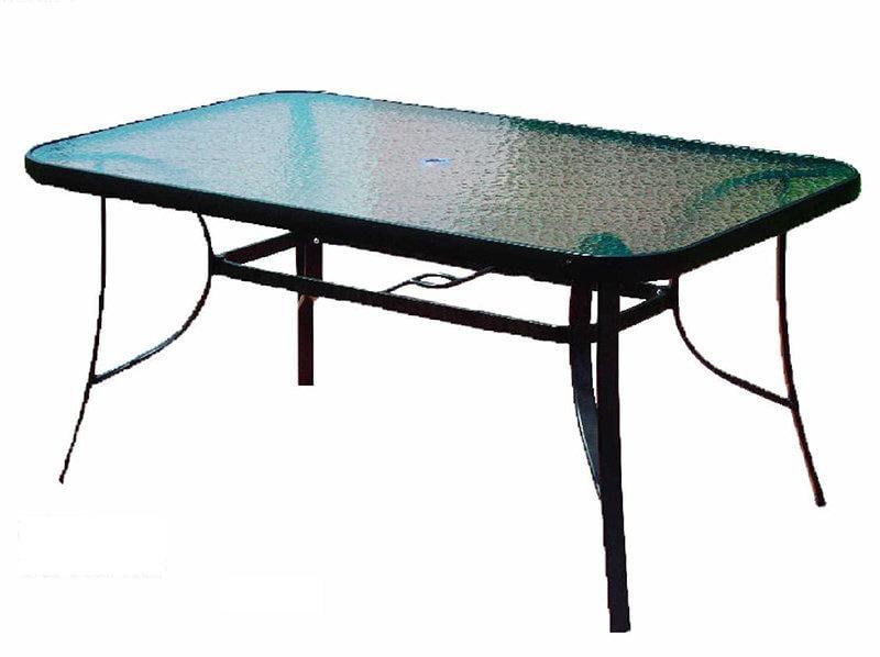 【三A傢俱】2-917 強化玻璃戶外折合休閒大方桌 * 有傘孔 * (戶外休閒桌 造型桌椅 餐桌椅 戶外桌 等候桌 庭院