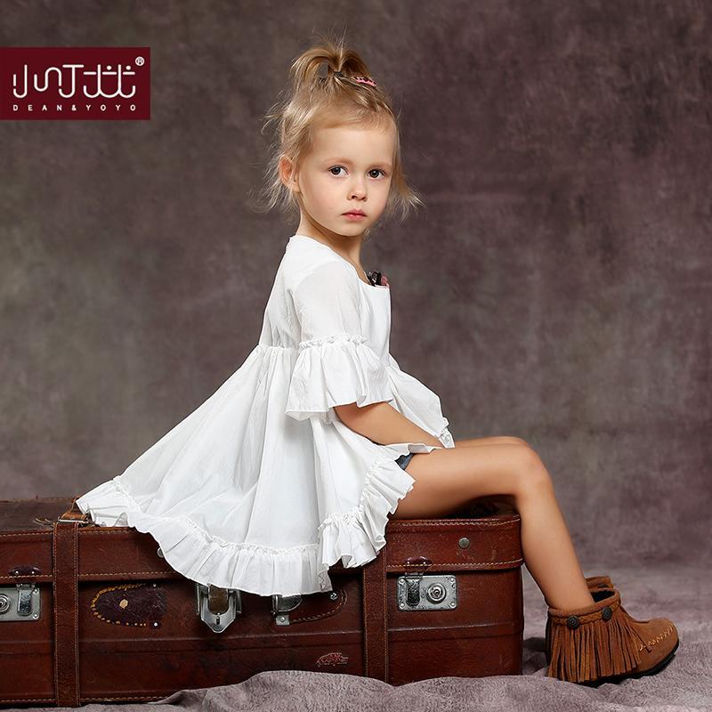 中小女童連衣裙2016春秋全棉夏季新款短袖寶寶白色時尚公主裙子
