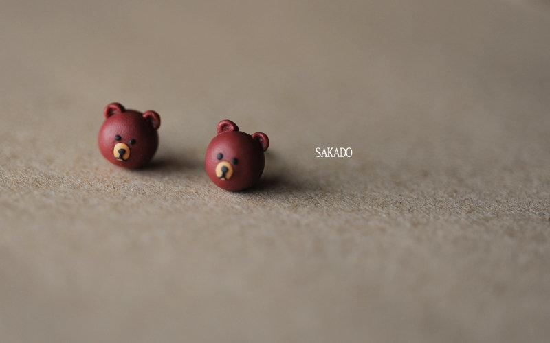 阪堂925純銀--純銀軟陶卡通耳環--line 熊大 Brown