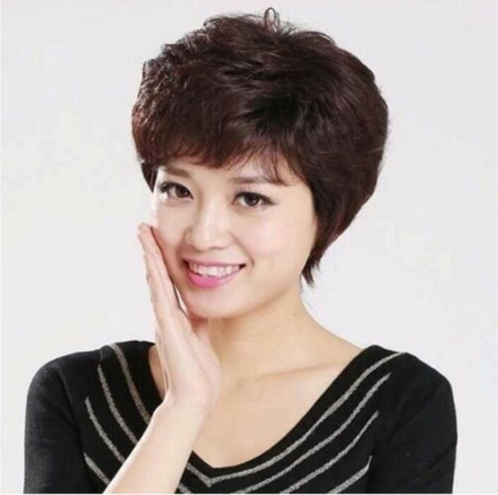 JQ1062-2假髮_女士時尚短髮中老年捲髮女短捲髮中年短髮/自然黑色+附送髮網