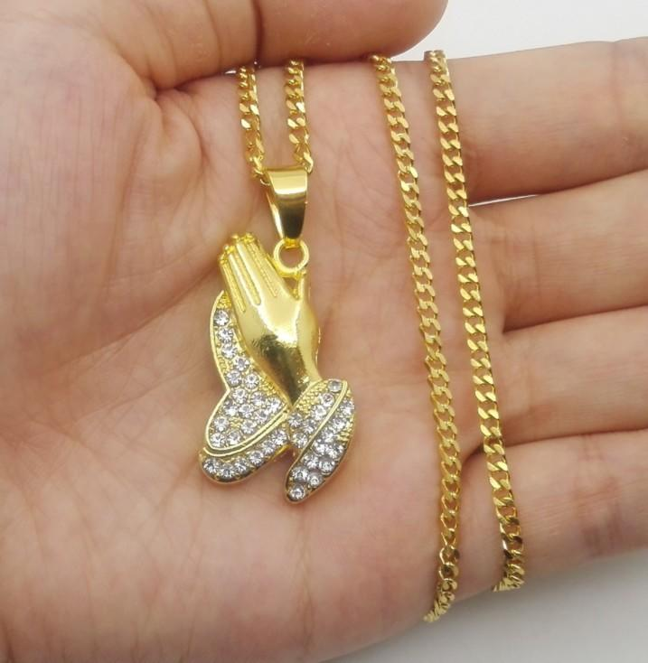 現貨限量不鏽鋼閃鑽雙手合十黃金禱告的手 黃金手 世界和平 中國有嘻哈 祈禱之手項鍊仿真金項鍊HIPHOP嘻哈項鍊 長項鍊