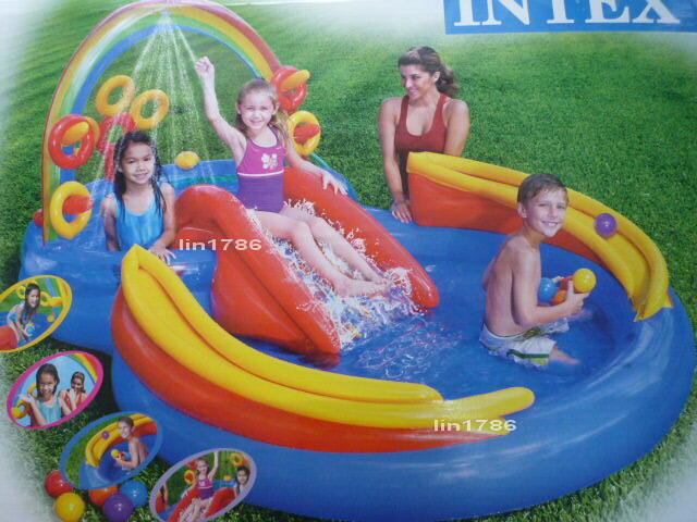 INTEX57453 原廠 噴水彩虹溜滑梯充氣遊戲水池 幼兒游泳池 幼兒玩水池 遊戲球池 兒童遊樂園 遊戲池 送修補貼