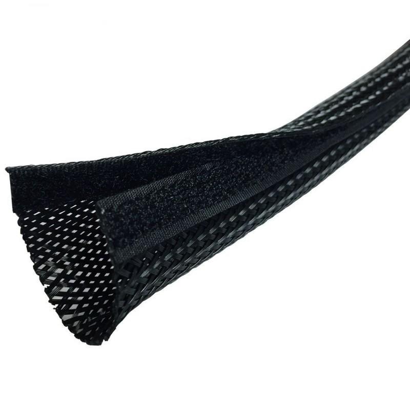 1公尺-Techflex FWN0.50BK (12mm) 魔鬼沾式整線套管 編織套管(隔離網/編織網) 黑色