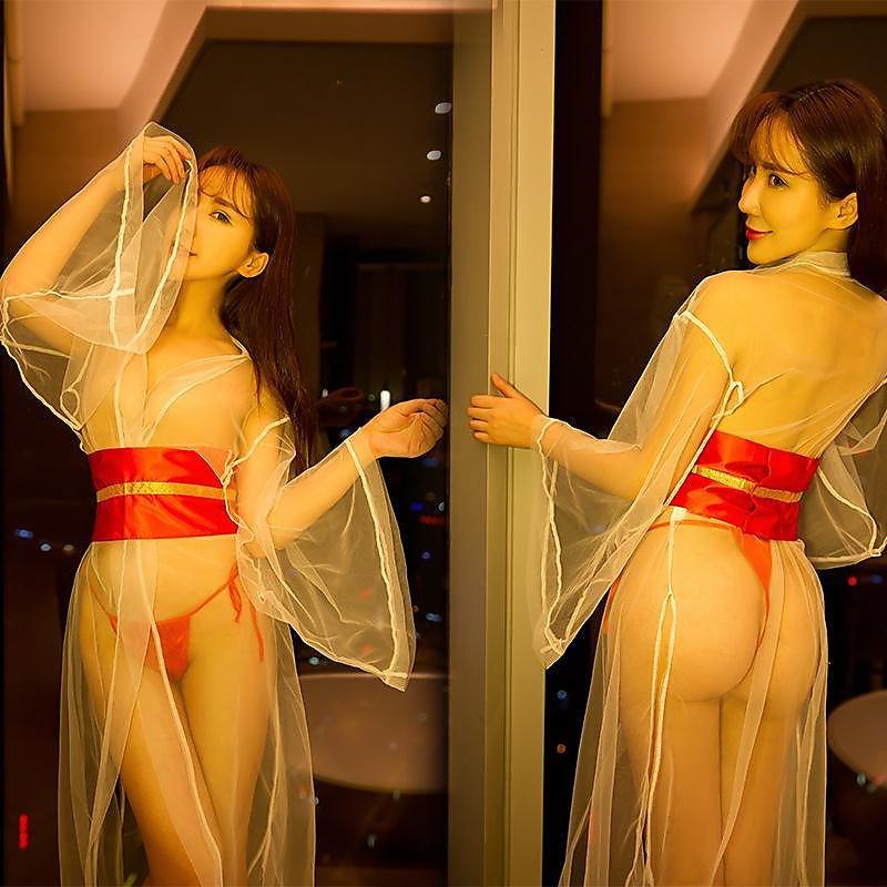318百貨-情趣內衣性感透明睡衣高檔網紗仙女裙薄紗中國風長裙
