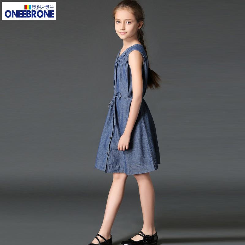 女童連衣裙夏季純棉牛仔中大童領無袖牛仔裙裙子中學生韓版新款