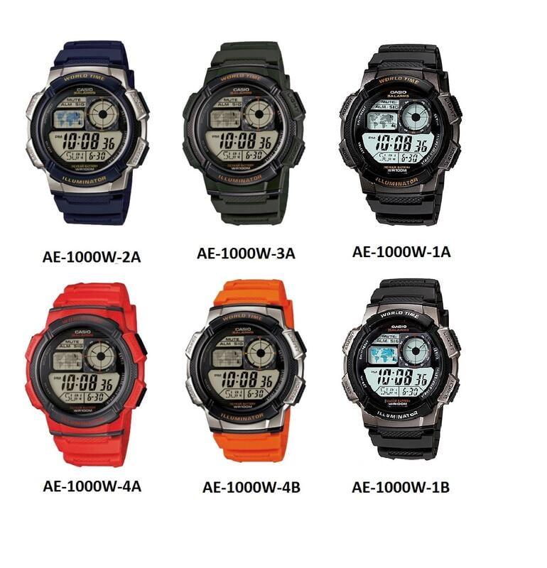 CASIO手錶專賣店十年電力AE-1000W-1A, 1B 地圖顯示防水100M全新公司貨附發票