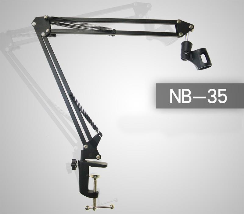 【旅行吉他專門店】NB35支架電容式/動圈麥克風雙用360度懸臂式金屬支架nb-35 筒架麥克風架電容麥架桌面萬向架