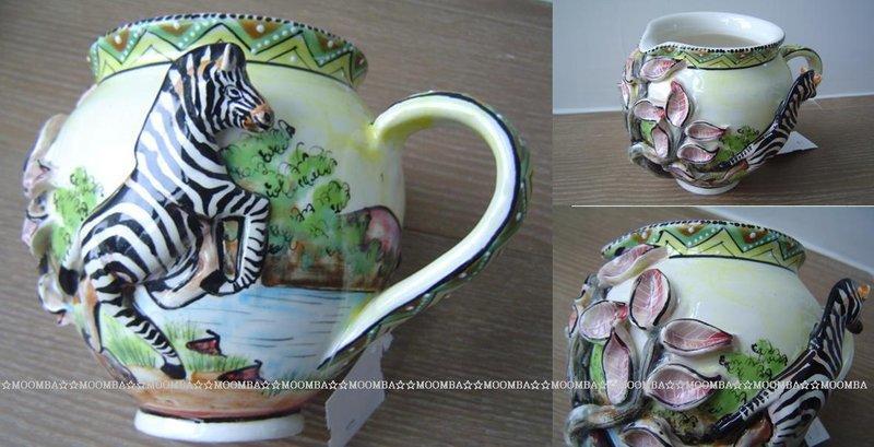☆MOOMBA☆ South Africa 南非 手工製 動物 彩繪 陶製品 牛奶壺 水壺 - 斑馬 長頸鹿 INTU-ART MILK JUG (LARGE)