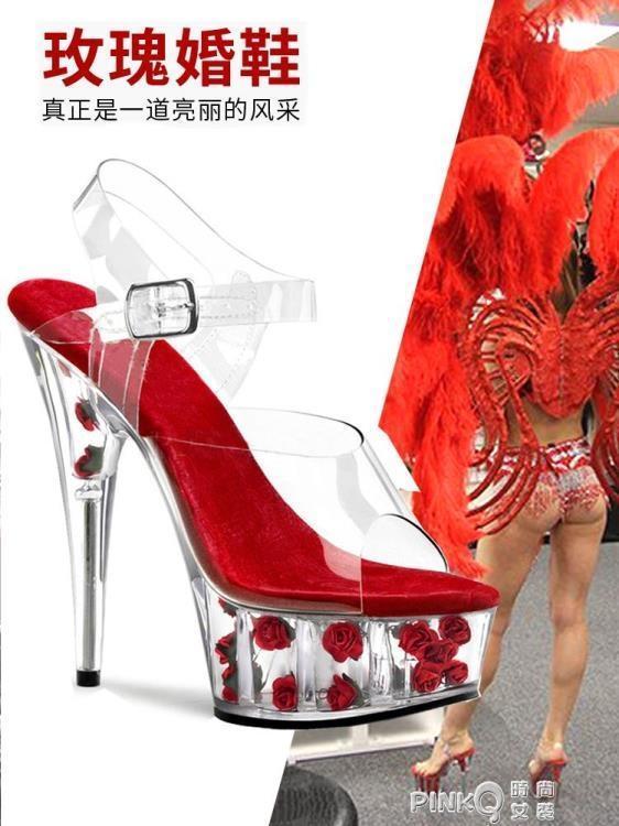 999小舖鋼管舞鞋子高跟鞋防水台涼鞋性感女紅色婚鞋走秀鞋15cm