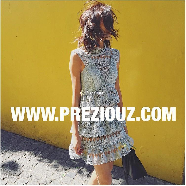 歐美self  portrait明星同款蕾絲鉤花鏤空性感透膚無袖背心裙蕾絲蛋糕連衣裙洋裝 婚禮派對伴娘服