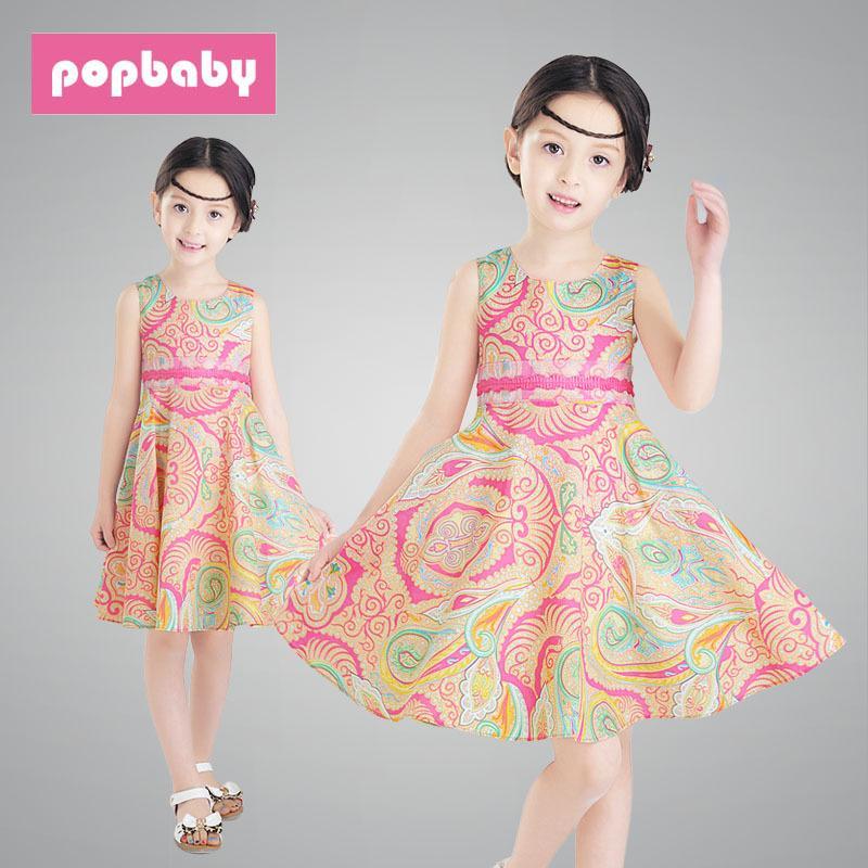 中大女童夏季新款裙子韓版兒童民族風花紋全棉公主連衣裙