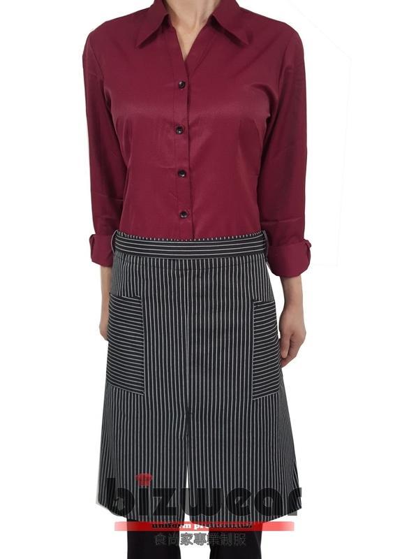 【食尚家】百搭黑白條紋圍裙,下半身圍裙,餐廳圍裙,餐飲業圍裙,黑底細白線條半身開叉雙口袋圍裙,